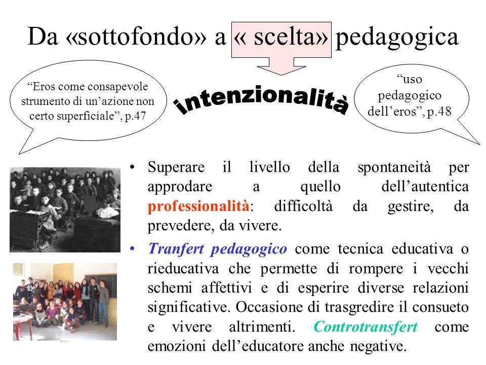 Da «sottofondo» a « scelta» pedagogica Superare il livello della spontaneità per approdare a quello dellautentica professionalità: difficoltà da gesti