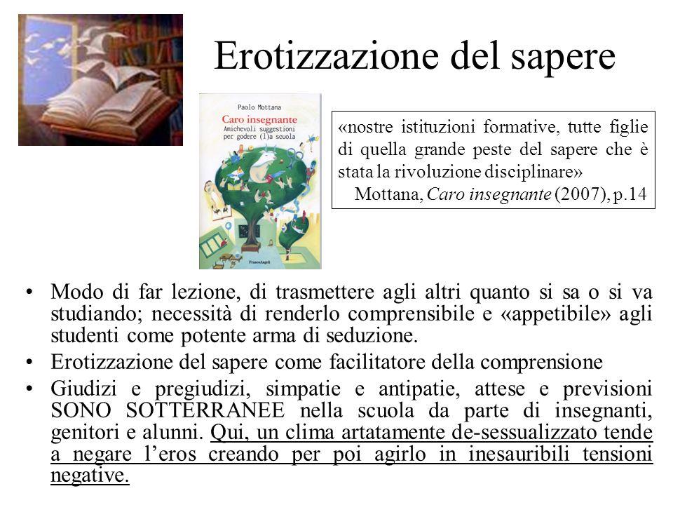 Erotizzazione del sapere Modo di far lezione, di trasmettere agli altri quanto si sa o si va studiando; necessità di renderlo comprensibile e «appetib