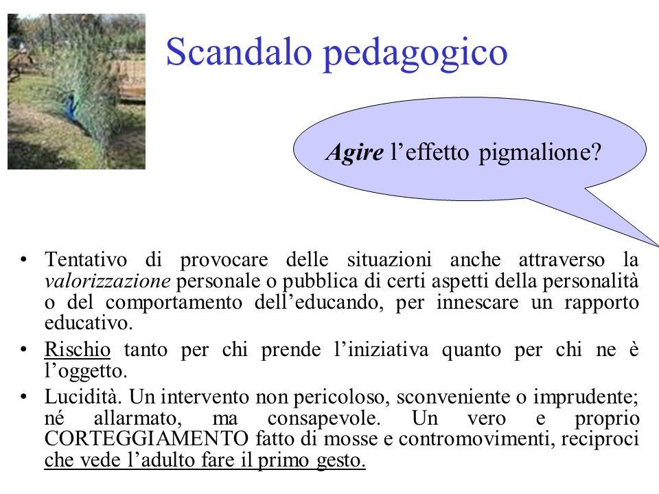 Scandalo pedagogico Tentativo di provocare delle situazioni anche attraverso la valorizzazione personale o pubblica di certi aspetti della personalità