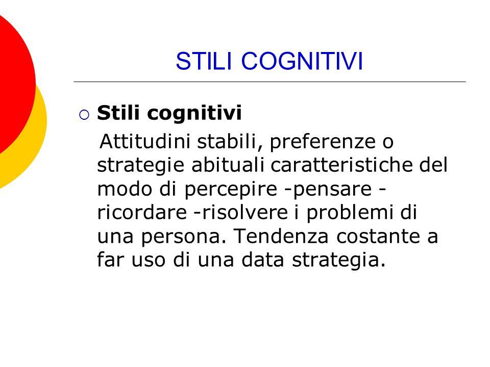 STILI COGNITIVI Stili cognitivi Attitudini stabili, preferenze o strategie abituali caratteristiche del modo di percepire -pensare - ricordare -risolv
