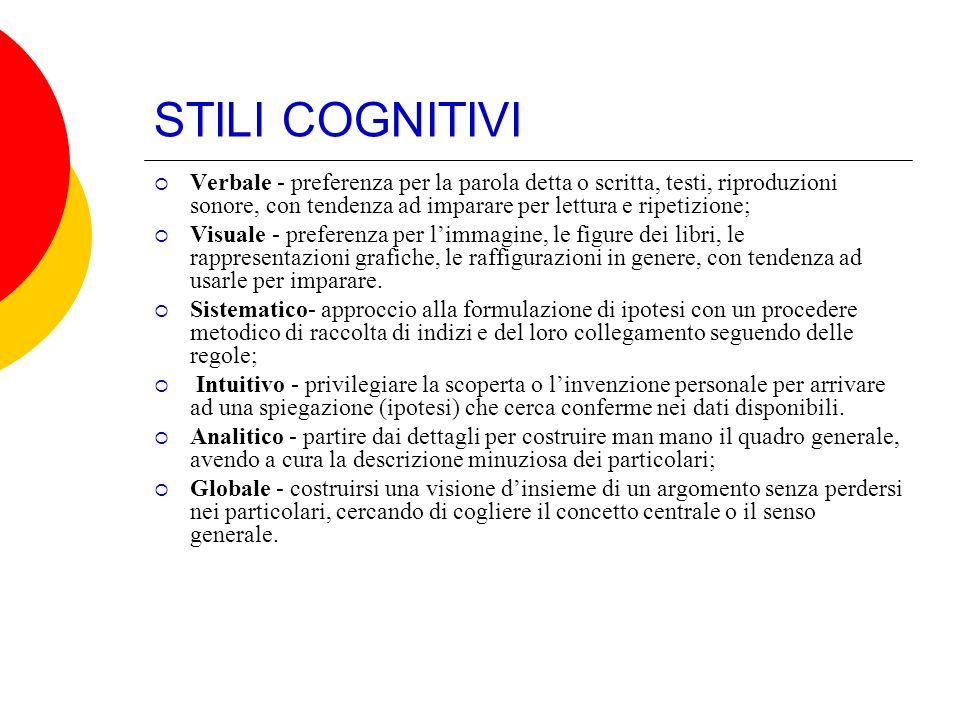 STILI COGNITIVI Verbale - preferenza per la parola detta o scritta, testi, riproduzioni sonore, con tendenza ad imparare per lettura e ripetizione; Vi