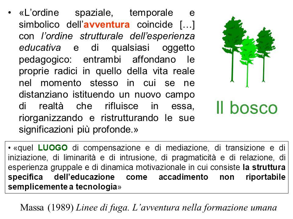 Il bosco «Lordine spaziale, temporale e simbolico dellavventura coincide […] con lordine strutturale dellesperienza educativa e di qualsiasi oggetto p