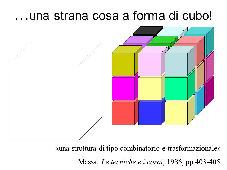 … una strana cosa a forma di cubo! Massa, Le tecniche e i corpi, 1986, pp.403-405 «una struttura di tipo combinatorio e trasformazionale»