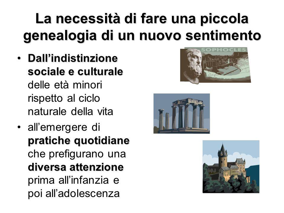 La necessità di fare una piccola genealogia di un nuovo sentimento Dallindistinzione sociale e culturaleDallindistinzione sociale e culturale delle et