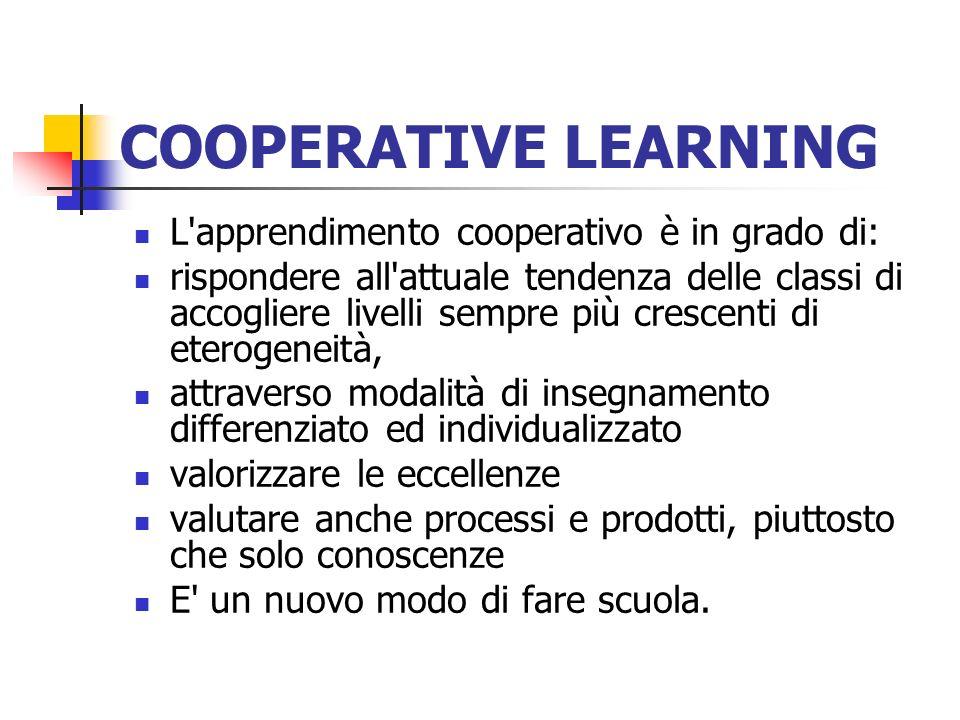COOPERATIVE LEARNING L'apprendimento cooperativo è in grado di: rispondere all'attuale tendenza delle classi di accogliere livelli sempre più crescent
