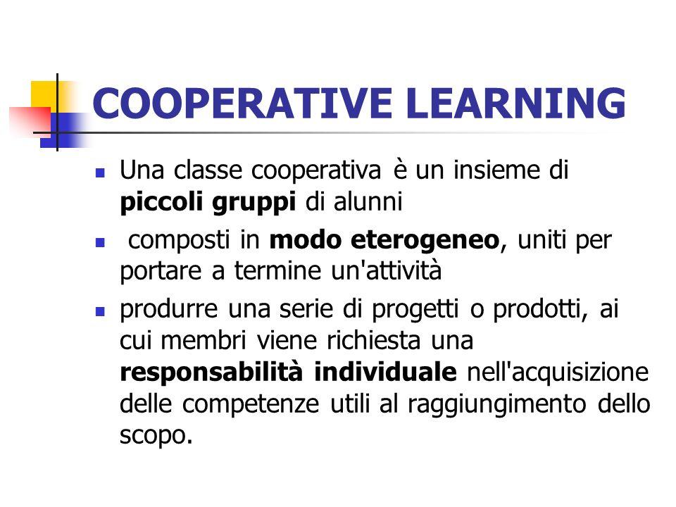 COOPERATIVE LEARNING Una classe cooperativa è un insieme di piccoli gruppi di alunni composti in modo eterogeneo, uniti per portare a termine un'attiv