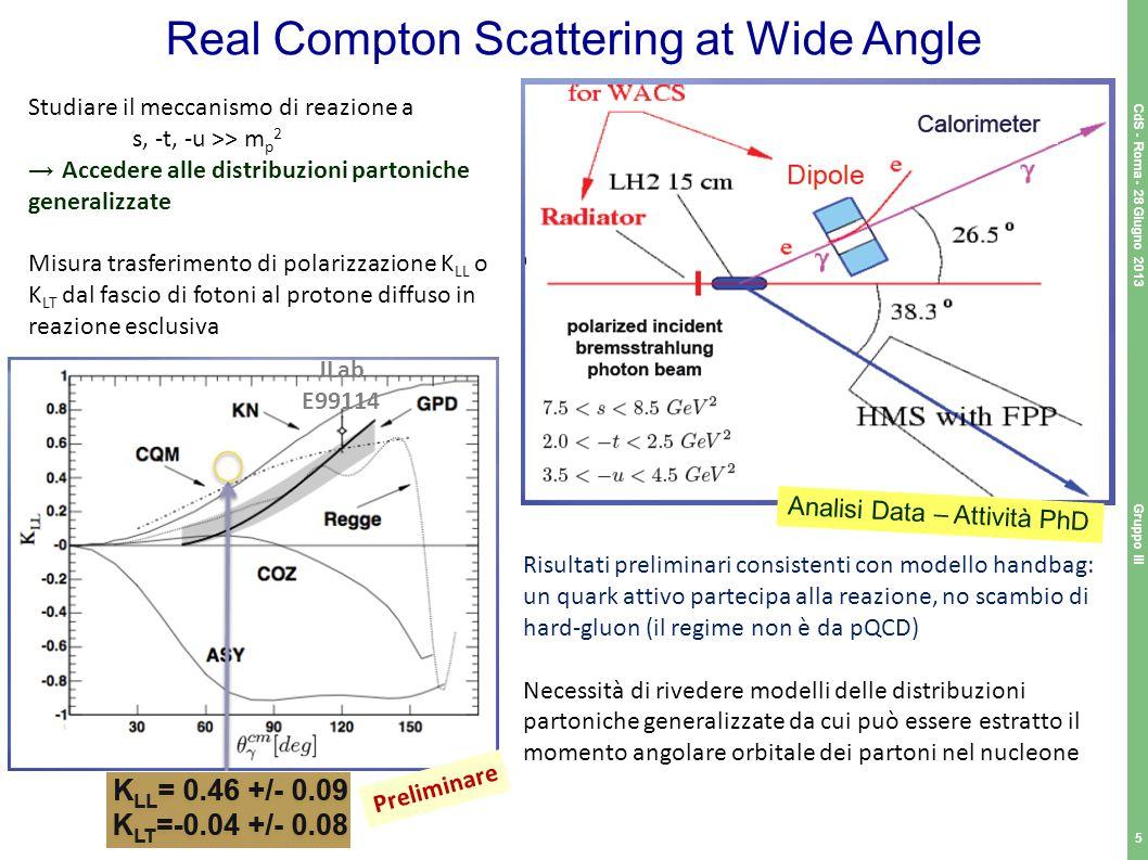 Real Compton Scattering at Wide Angle Gruppo III 5 CdS - Roma - 28 Giugno 2013 Studiare il meccanismo di reazione a s, -t, -u >> m p 2 Accedere alle d