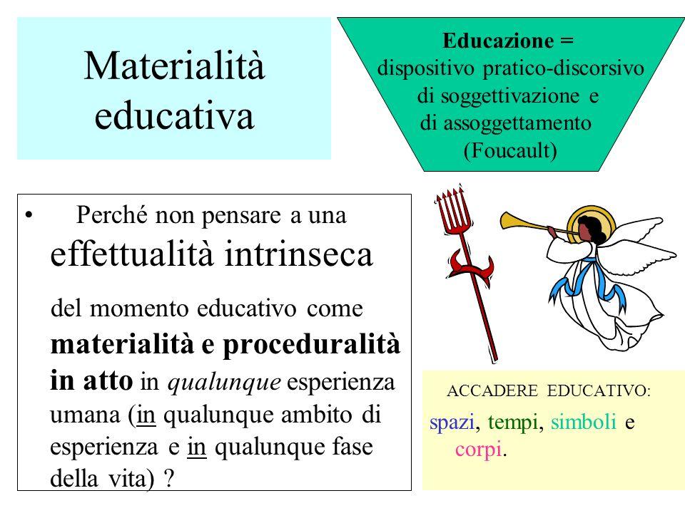 Materialità educativa Perché non pensare a una effettualità intrinseca del momento educativo come materialità e proceduralità in atto in qualunque esp
