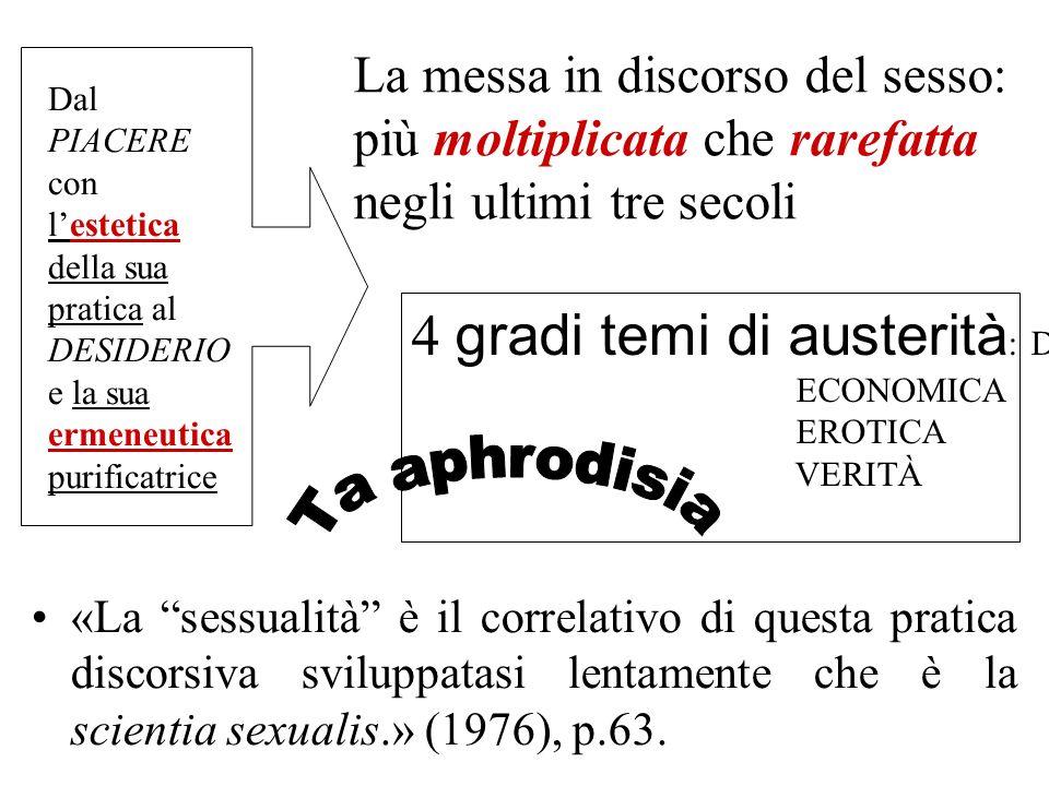 La messa in discorso del sesso: più moltiplicata che rarefatta negli ultimi tre secoli «La sessualità è il correlativo di questa pratica discorsiva sv