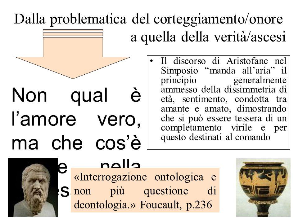 Dalla problematica del corteggiamento/onore a quella della verità/ascesi Il discorso di Aristofane nel Simposio manda allaria il principio generalment