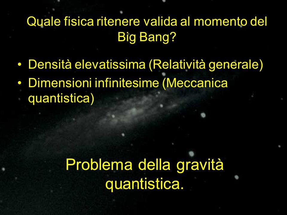 Densità elevatissima (Relatività generale) Dimensioni infinitesime (Meccanica quantistica) Quale fisica ritenere valida al momento del Big Bang? Probl