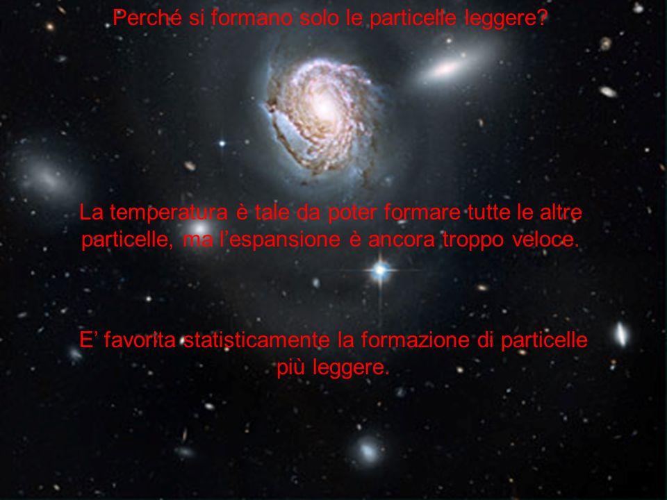 Perché si formano solo le particelle leggere? La temperatura è tale da poter formare tutte le altre particelle, ma lespansione è ancora troppo veloce.