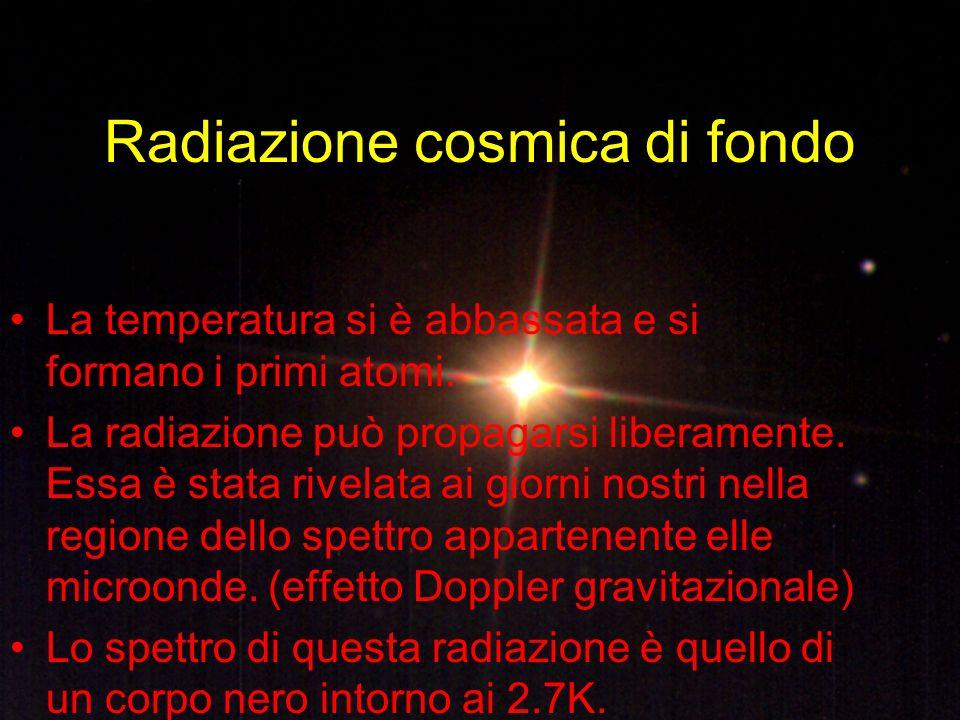 Radiazione cosmica di fondo La temperatura si è abbassata e si formano i primi atomi. La radiazione può propagarsi liberamente. Essa è stata rivelata