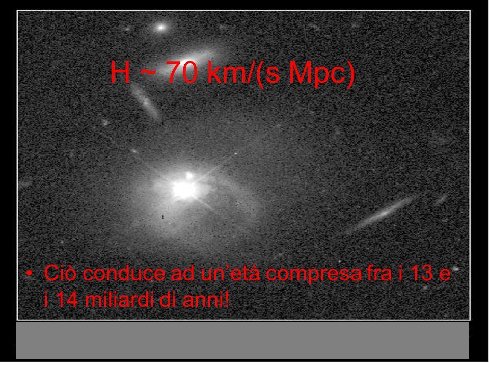 H ~ 70 km/(s Mpc) Ciò conduce ad unetà compresa fra i 13 e i 14 miliardi di anni!