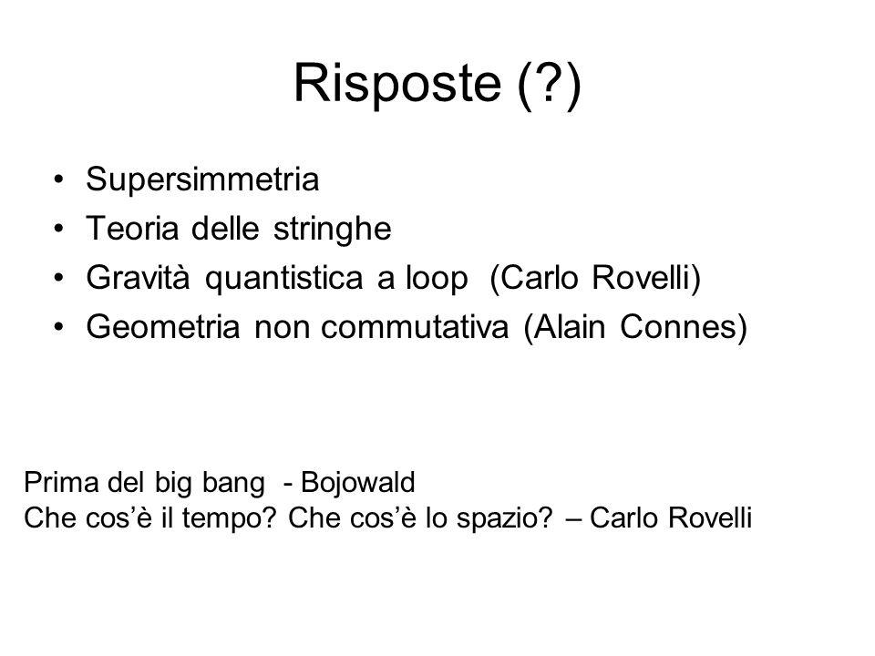 Risposte (?) Supersimmetria Teoria delle stringhe Gravità quantistica a loop (Carlo Rovelli) Geometria non commutativa (Alain Connes) Prima del big ba