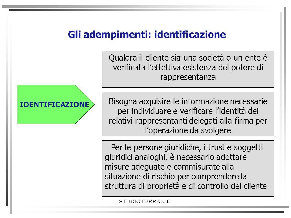 STUDIO FERRAJOLI Gli adempimenti: identificazione IDENTIFICAZIONE Qualora il cliente sia una società o un ente è verificata leffettiva esistenza del p