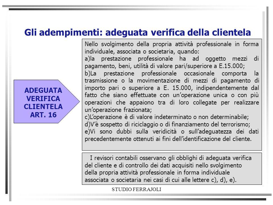 STUDIO FERRAJOLI Gli adempimenti: adeguata verifica della clientela Nello svolgimento della propria attività professionale in forma individuale, assoc