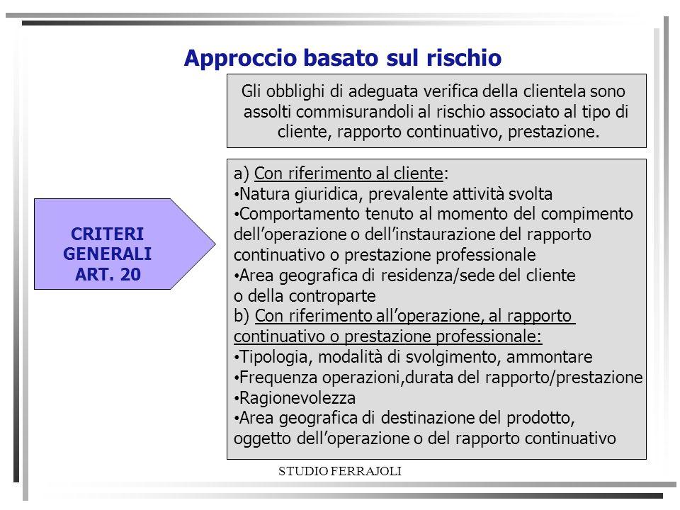 STUDIO FERRAJOLI Approccio basato sul rischio Gli obblighi di adeguata verifica della clientela sono assolti commisurandoli al rischio associato al ti