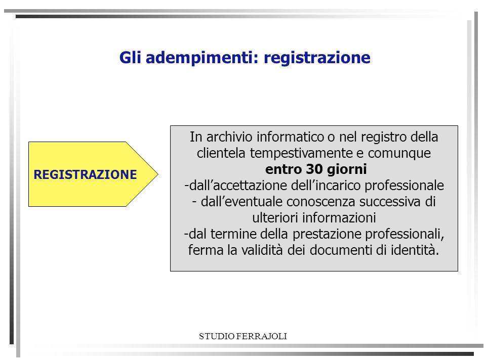 STUDIO FERRAJOLI Gli adempimenti: registrazione In archivio informatico o nel registro della clientela tempestivamente e comunque entro 30 giorni -dal