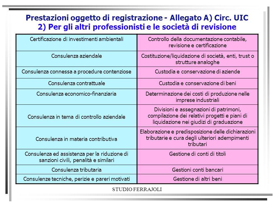 STUDIO FERRAJOLI Prestazioni oggetto di registrazione - Allegato A) Circ. UIC 2) Per gli altri professionisti e le società di revisione Certificazione