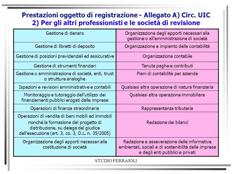 STUDIO FERRAJOLI Prestazioni oggetto di registrazione - Allegato A) Circ. UIC 2) Per gli altri professionisti e le società di revisione Gestione di de
