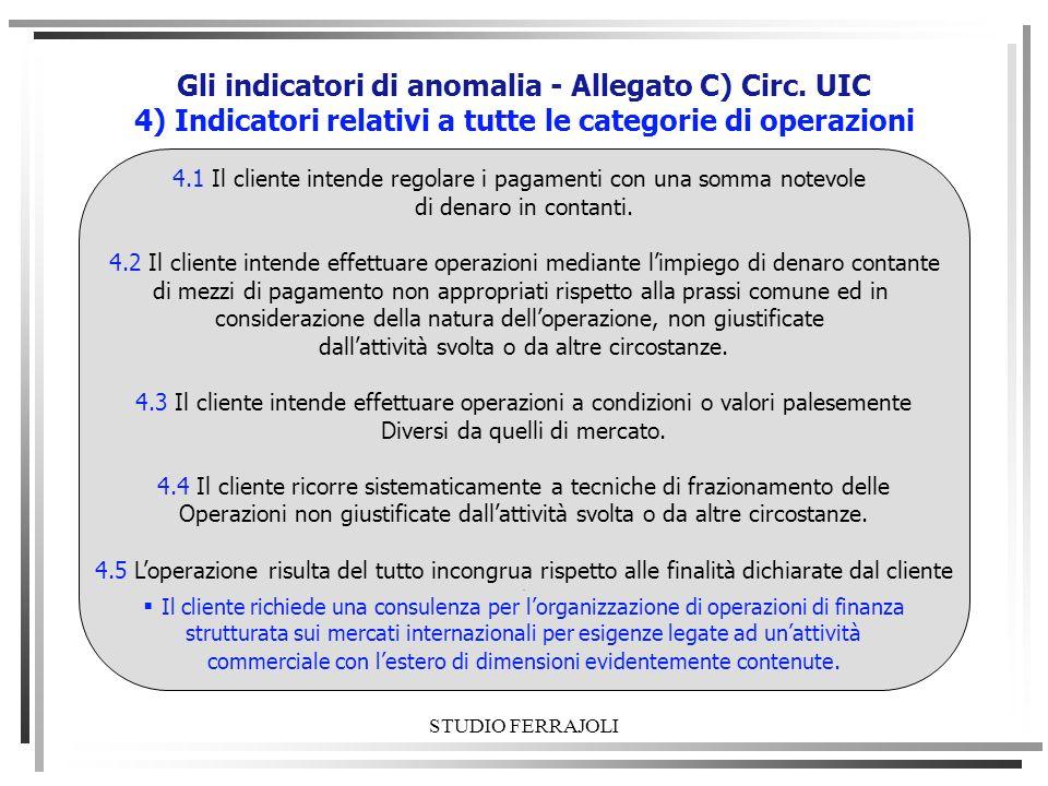 STUDIO FERRAJOLI Gli indicatori di anomalia - Allegato C) Circ. UIC 4) Indicatori relativi a tutte le categorie di operazioni 4.1 Il cliente intende r