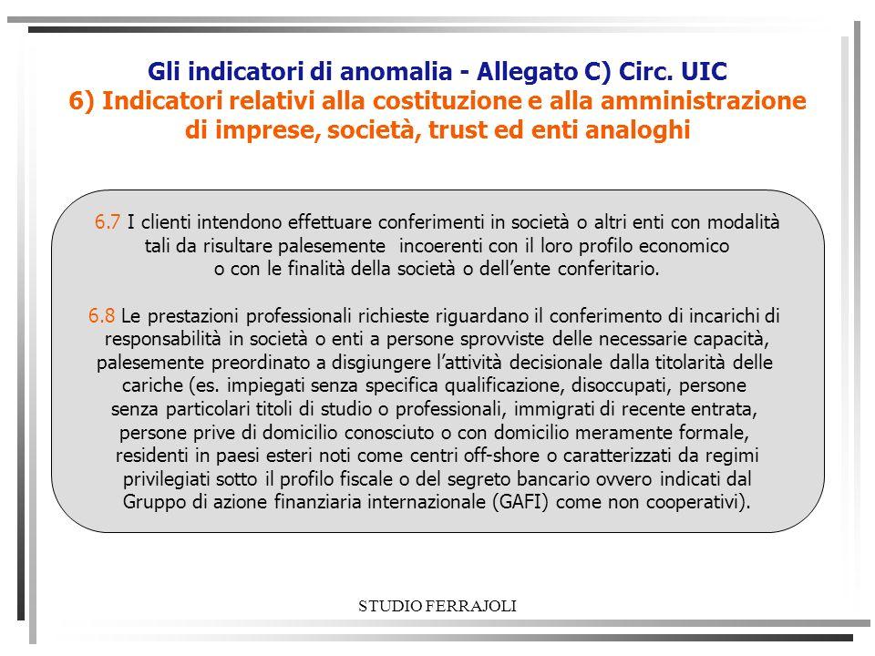 STUDIO FERRAJOLI Gli indicatori di anomalia - Allegato C) Circ. UIC 6) Indicatori relativi alla costituzione e alla amministrazione di imprese, societ