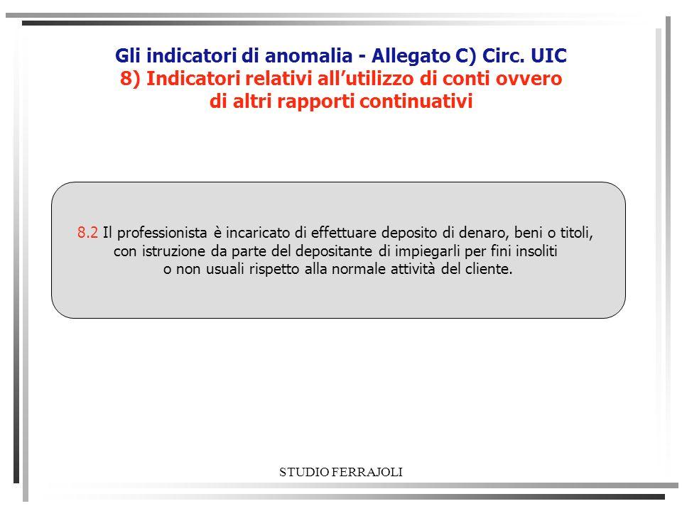 STUDIO FERRAJOLI Gli indicatori di anomalia - Allegato C) Circ. UIC 8) Indicatori relativi allutilizzo di conti ovvero di altri rapporti continuativi