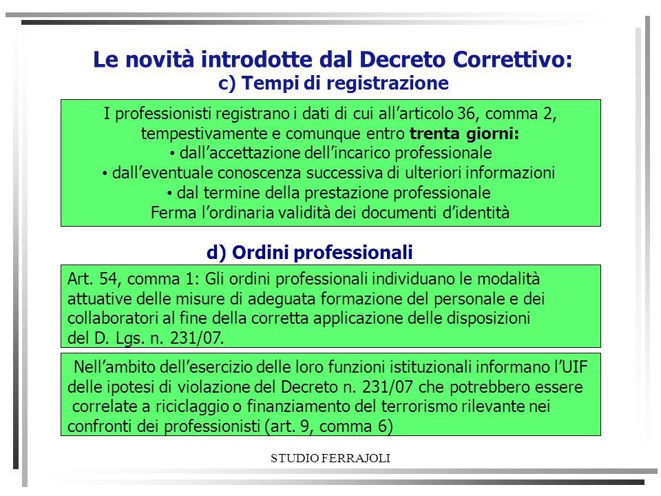 STUDIO FERRAJOLI Le novità introdotte dal Decreto Correttivo: c) Tempi di registrazione I professionisti registrano i dati di cui allarticolo 36, comm