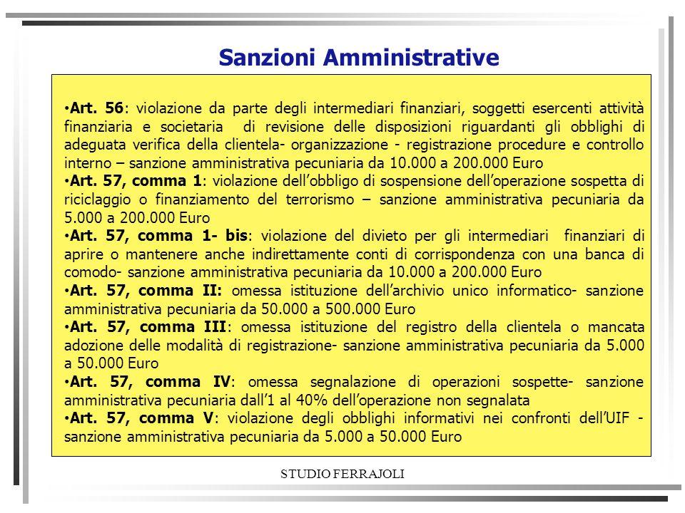 STUDIO FERRAJOLI Sanzioni Amministrative Art. 56: violazione da parte degli intermediari finanziari, soggetti esercenti attività finanziaria e societa