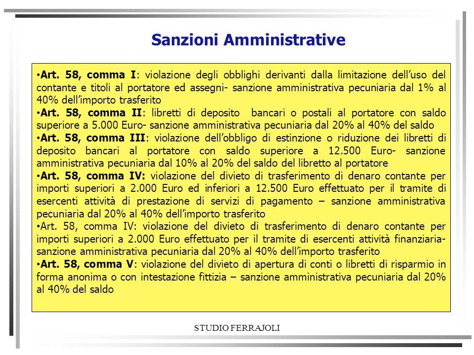 STUDIO FERRAJOLI Sanzioni Amministrative Art. 58, comma I: violazione degli obblighi derivanti dalla limitazione delluso del contante e titoli al port