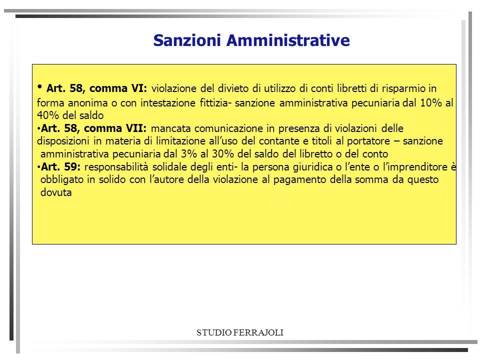 STUDIO FERRAJOLI Sanzioni Amministrative Art. 58, comma VI: violazione del divieto di utilizzo di conti libretti di risparmio in forma anonima o con i