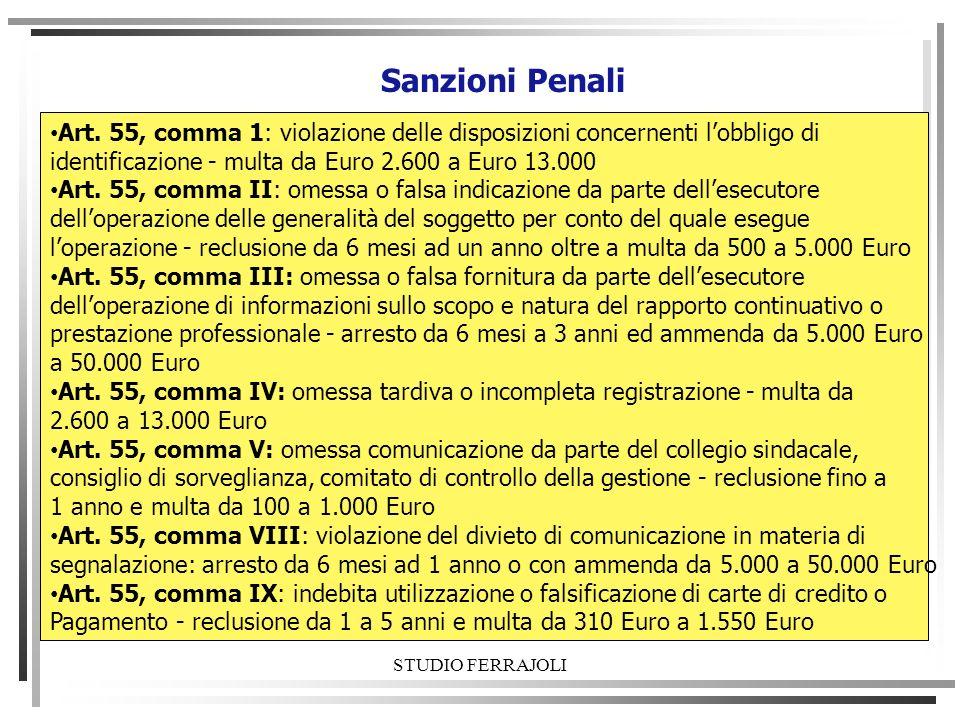 STUDIO FERRAJOLI Sanzioni Penali Art. 55, comma 1: violazione delle disposizioni concernenti lobbligo di identificazione - multa da Euro 2.600 a Euro