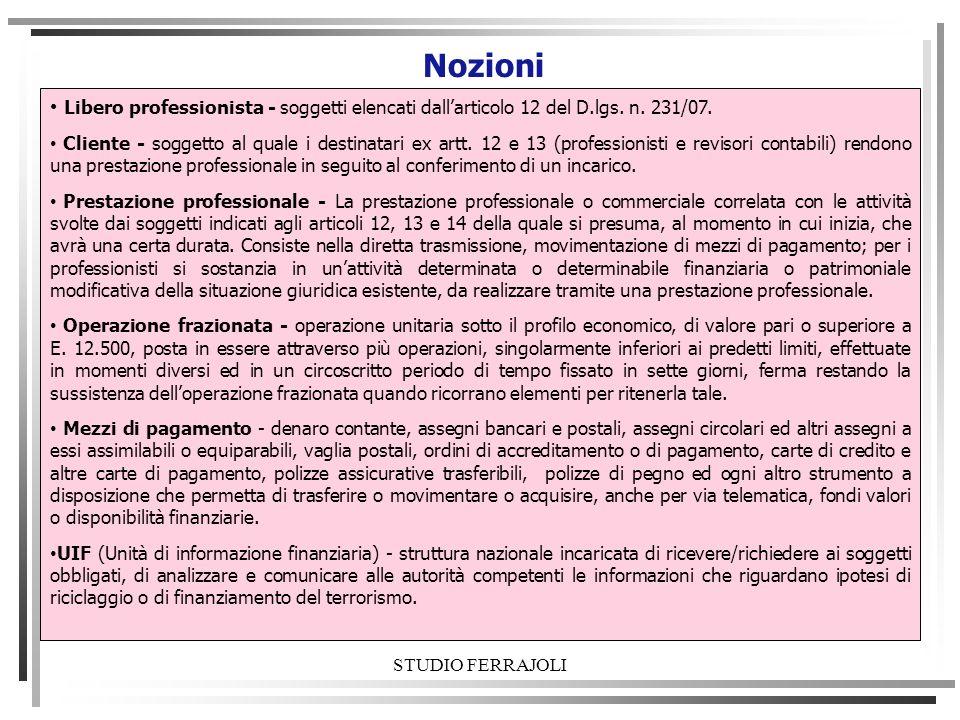 STUDIO FERRAJOLI Nozioni Libero professionista - soggetti elencati dallarticolo 12 del D.lgs. n. 231/07. Cliente - soggetto al quale i destinatari ex