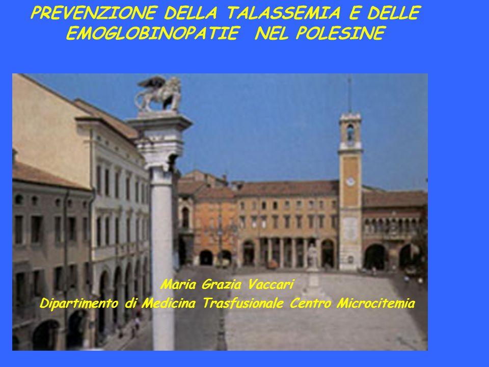 La Talassemia Major in Polesine Dati del registro Malattie Rare della Regione Veneto 100 casi talassemia major 7 - 8 persone ogni 100 sono portano il trait talassemico