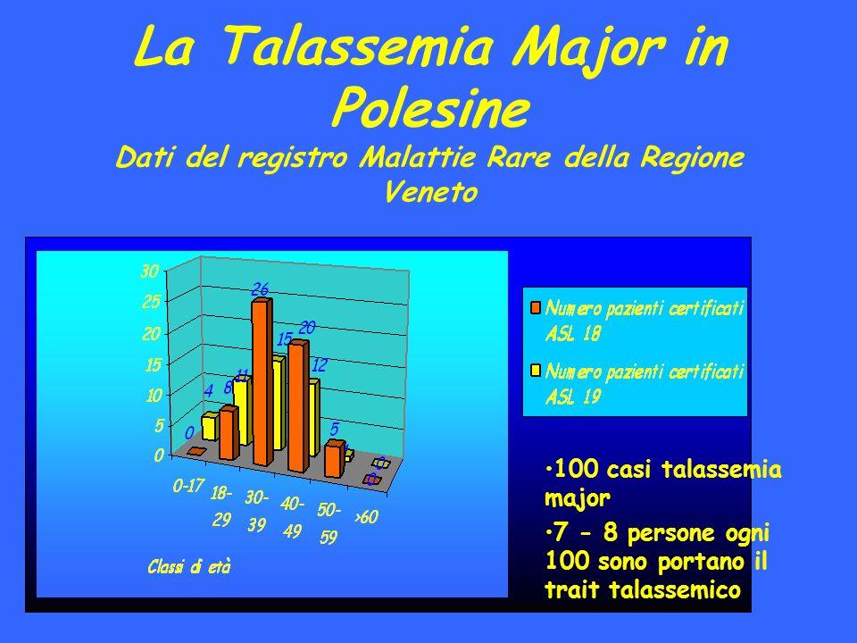 La Talassemia Major in Polesine Dati del registro Malattie Rare della Regione Veneto 100 casi talassemia major 7 - 8 persone ogni 100 sono portano il