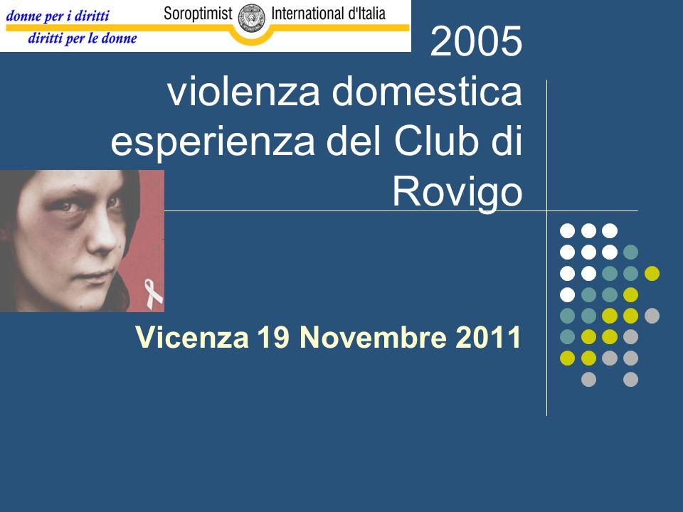 2005 violenza domestica esperienza del Club di Rovigo Vicenza 19 Novembre 2011