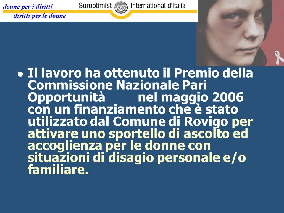 Il lavoro ha ottenuto il Premio della Commissione Nazionale Pari Opportunità nel maggio 2006 con un finanziamento che è stato utilizzato dal Comune di Rovigo per attivare uno sportello di ascolto ed accoglienza per le donne con situazioni di disagio personale e/o familiare.