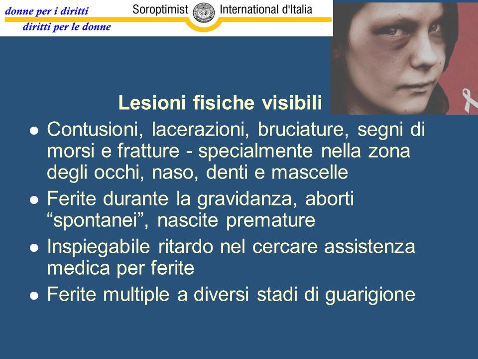 Lesioni fisiche visibili Contusioni, lacerazioni, bruciature, segni di morsi e fratture - specialmente nella zona degli occhi, naso, denti e mascelle