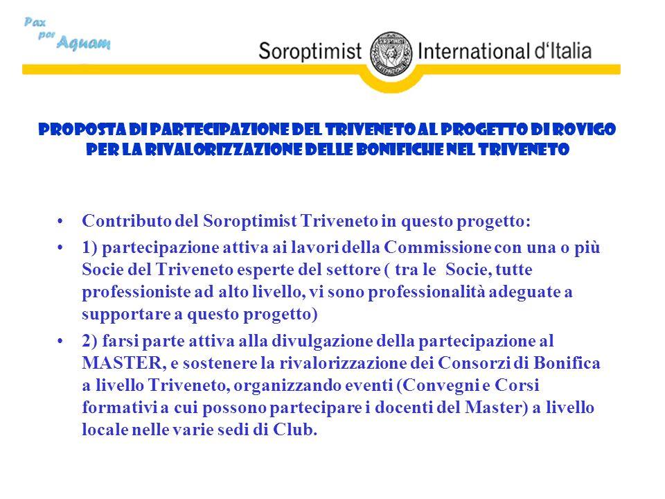 Proposta di partecipazione del Triveneto al Progetto di Rovigo per la rivalorizzazione delle Bonifiche nel Triveneto Contributo del Soroptimist Triven