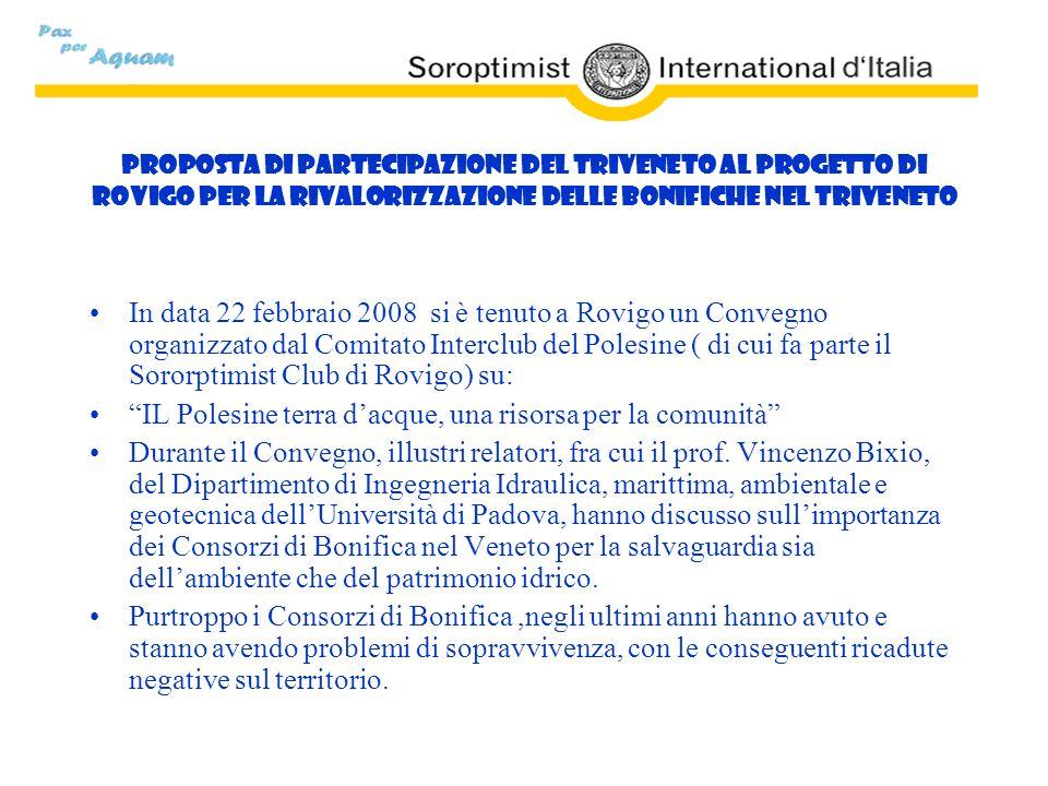 Proposta di partecipazione del Triveneto al Progetto di Rovigo per la rivalorizzazione delle Bonifiche nel Triveneto In data 22 febbraio 2008 si è ten