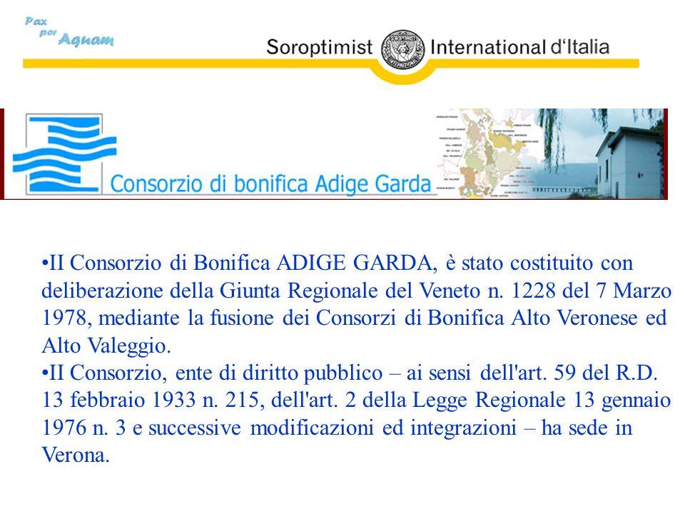 II Consorzio di Bonifica ADIGE GARDA, è stato costituito con deliberazione della Giunta Regionale del Veneto n. 1228 del 7 Marzo 1978, mediante la fus