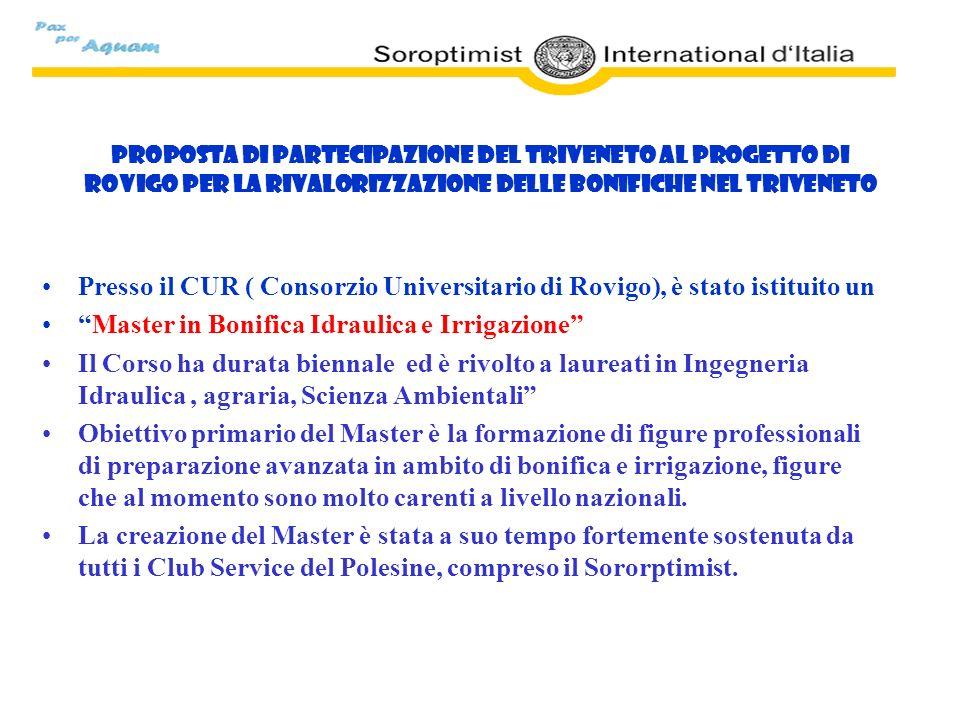 Proposta di partecipazione del Triveneto al Progetto di Rovigo per la rivalorizzazione delle Bonifiche nel Triveneto Presso il CUR ( Consorzio Univers