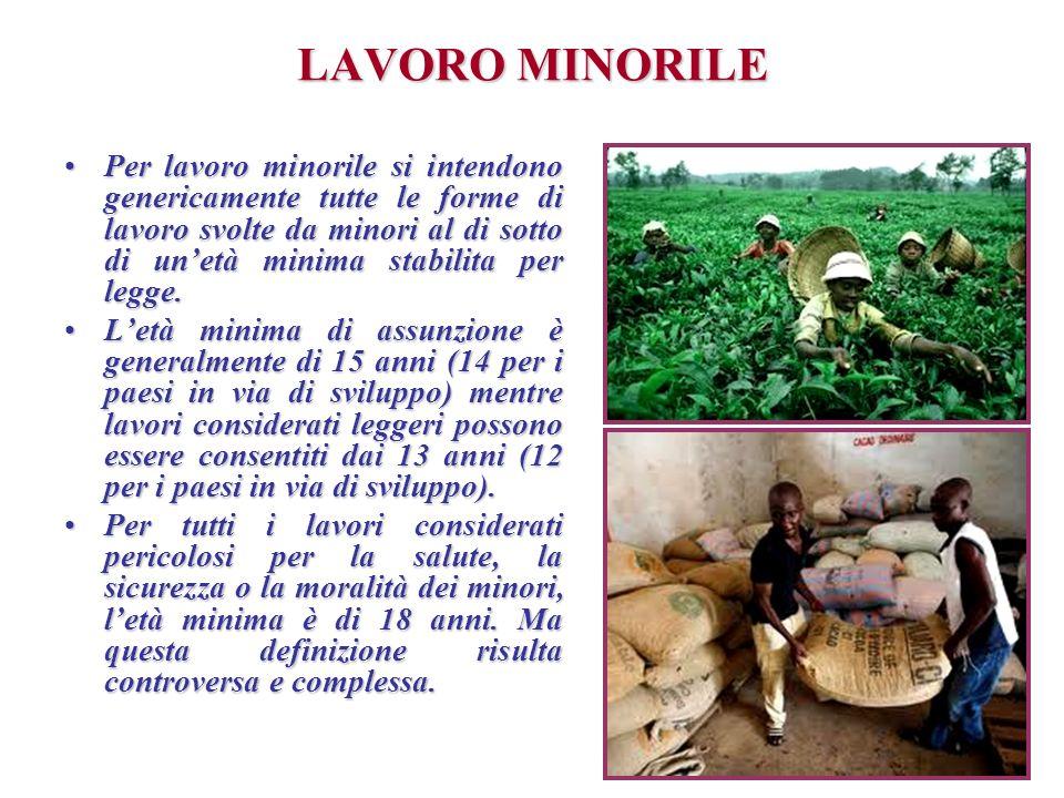 LAVORO MINORILE Per lavoro minorile si intendono genericamente tutte le forme di lavoro svolte da minori al di sotto di unetà minima stabilita per leg