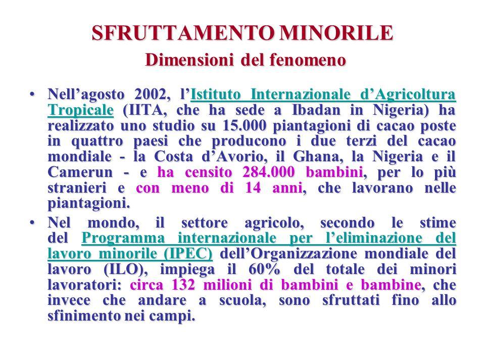 SFRUTTAMENTO MINORILE Dimensioni del fenomeno Nellagosto 2002, lIstituto Internazionale dAgricoltura Tropicale (IITA, che ha sede a Ibadan in Nigeria)