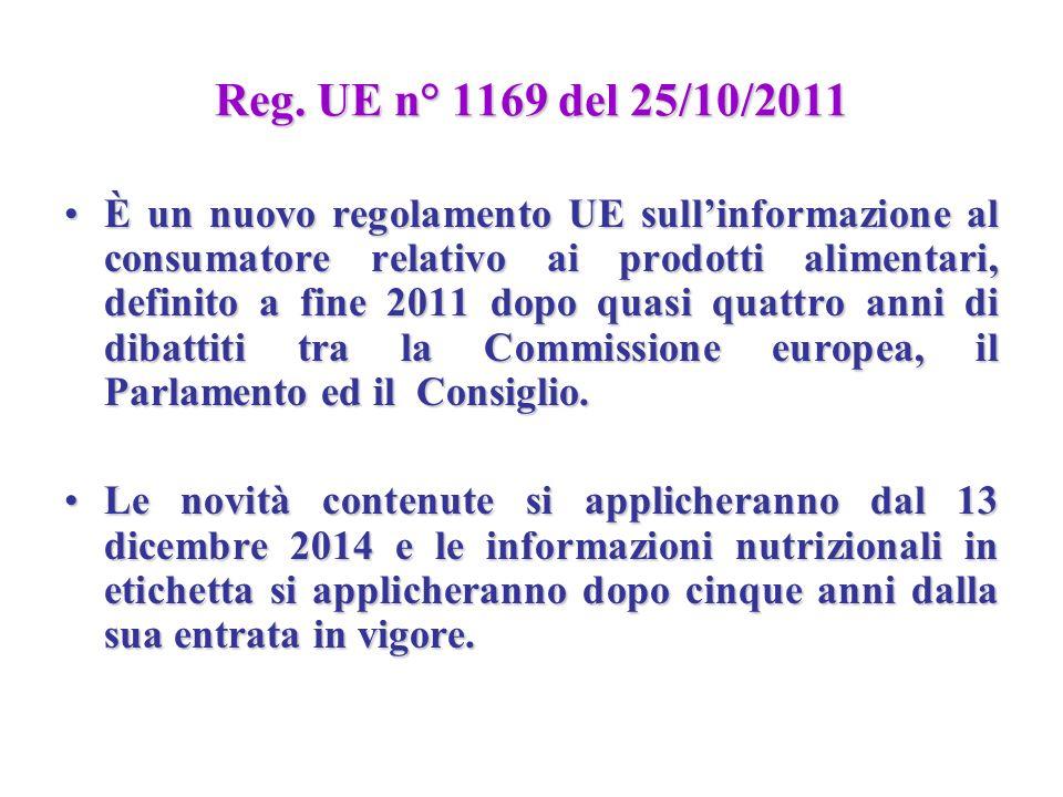 Reg. UE n° 1169 del 25/10/2011 È un nuovo regolamento UE sullinformazione al consumatore relativo ai prodotti alimentari, definito a fine 2011 dopo qu