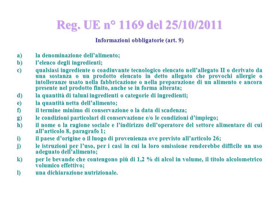Reg. UE n° 1169 del 25/10/2011 Informazioni obbligatorie (art. 9) a)la denominazione dellalimento; b)lelenco degli ingredienti; c)qualsiasi ingredient