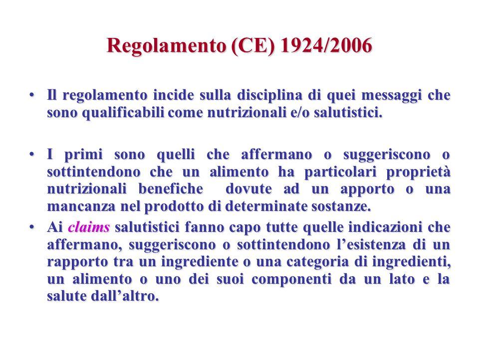 Regolamento (CE) 1924/2006 Il regolamento incide sulla disciplina di quei messaggi che sono qualificabili come nutrizionali e/o salutistici.Il regolam