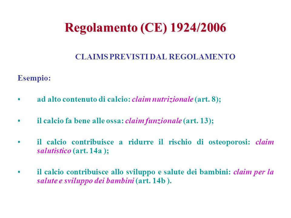 Regolamento (CE) 1924/2006 CLAIMS PREVISTI DAL REGOLAMENTO Esempio: ad alto contenuto di calcio: claim nutrizionale (art. 8); il calcio fa bene alle o