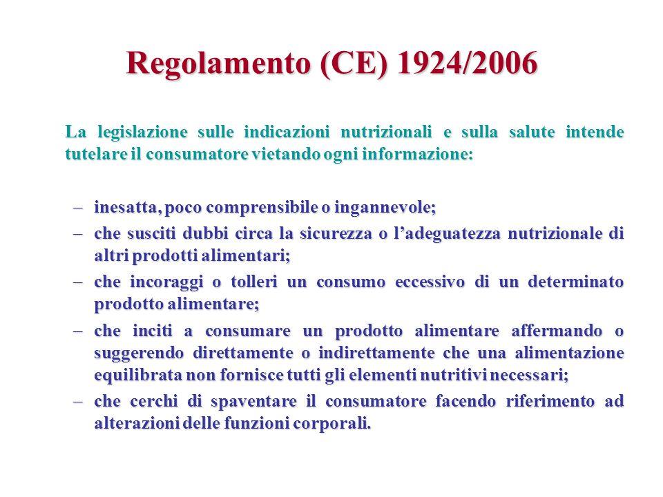Regolamento (CE) 1924/2006 La legislazione sulle indicazioni nutrizionali e sulla salute intende tutelare il consumatore vietando ogni informazione: –